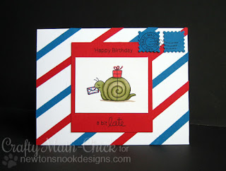 Snail Mail Belated Birthday card by Crafty Math Chick | In Slow Motion by Newton's Nook Designs