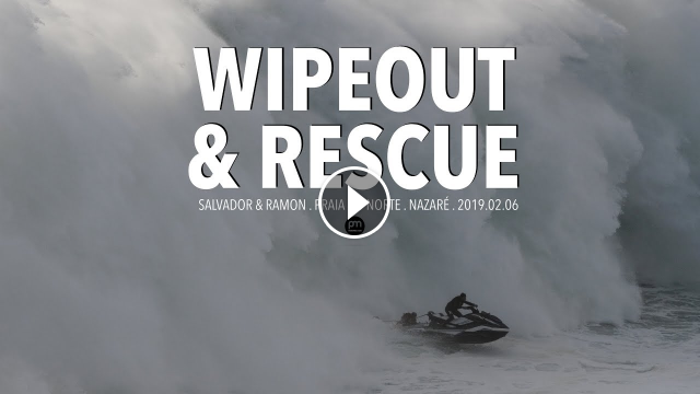 Wipeout Heroic Rescue Raw Footage Nazaré Portugal - 2019 02 06 Surf Big Waves 4K