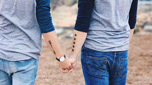 couple star and arrow tattoo sevgili yıldız ve ok dövmesi