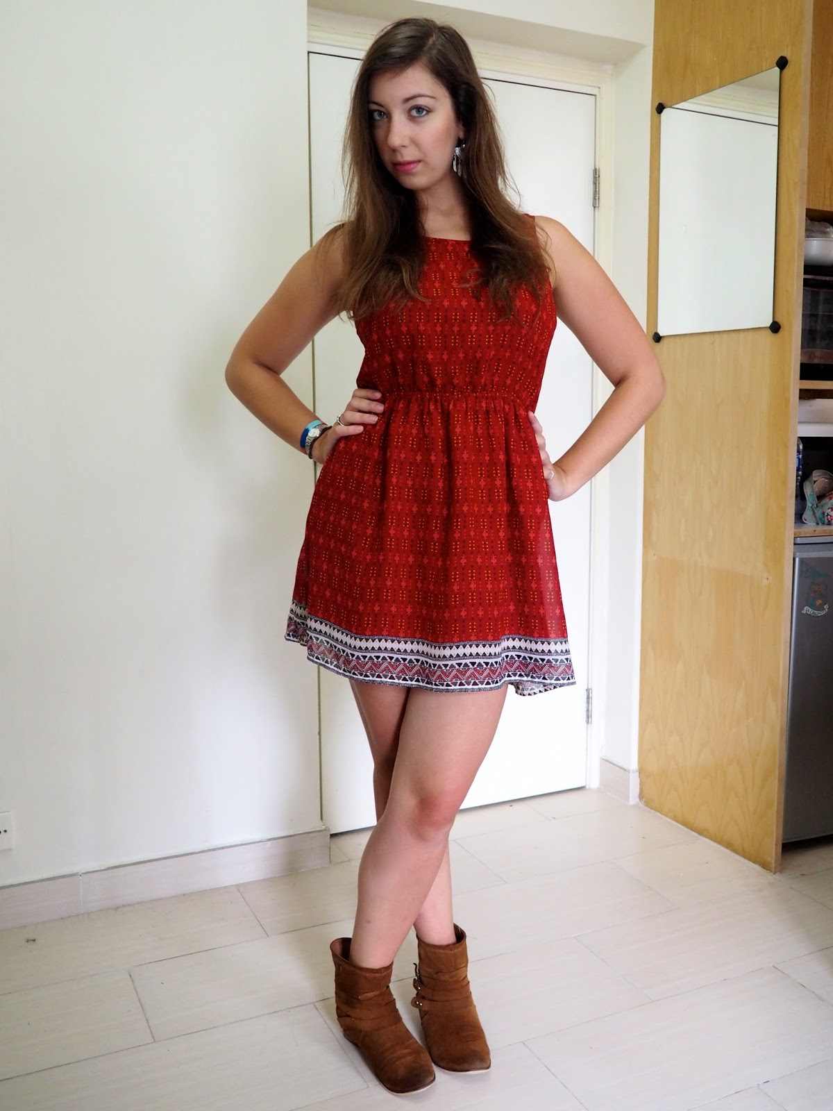 One red dress boots