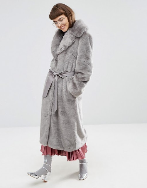 grey faux fur coat, maxi fur coat, grey long fur coat,