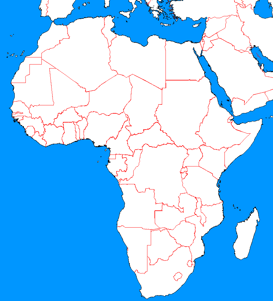 Blank Map Of Africa And Middle East | Map Of Africa