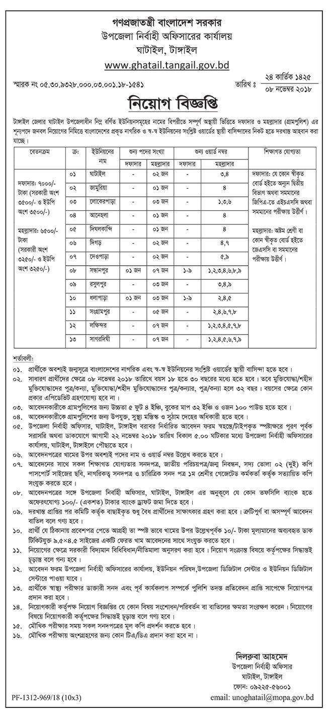 Ghatail Upazila, Tangail Job Circular 2018