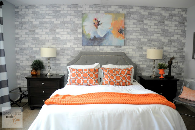 AFTER: Gorgeous gray walls with faux brick wallpaper