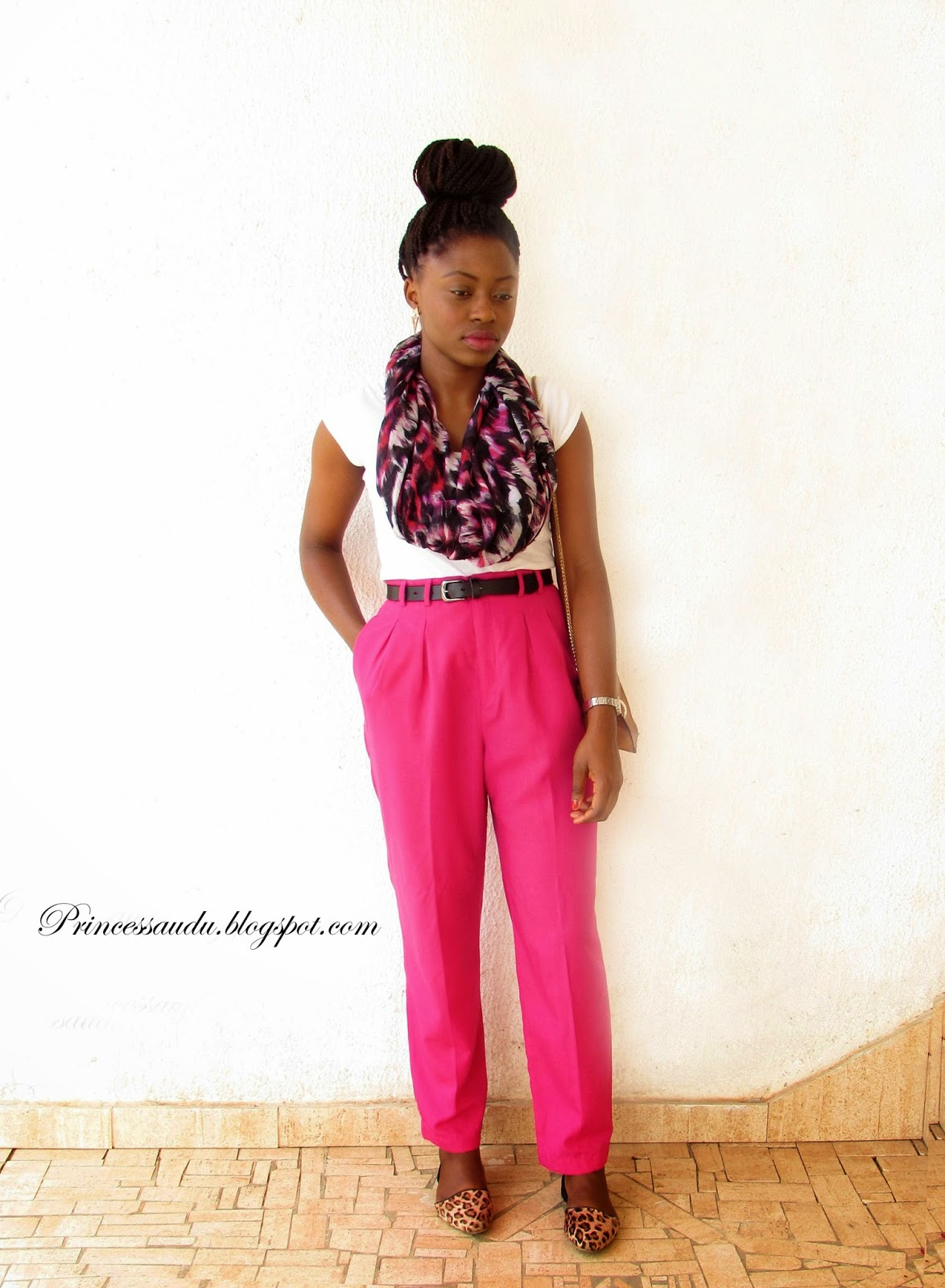 Lookbook, leopard print flats. how to tie a scarf, high-waist pants, pink
