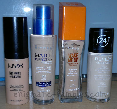 nyx-foundation-hd-studio-match-perfection-rimmel-wake-me-up-revlon-colorstay