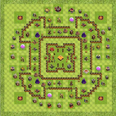 War Base Town Hall Level 10 By 11061978 (War TH 10 Layout)