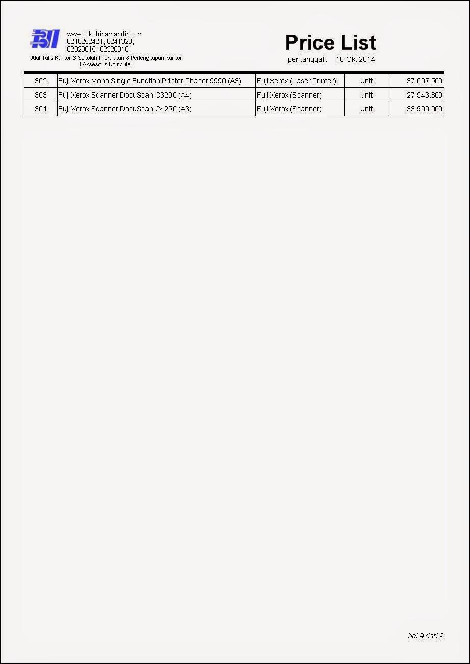 Price List ATK ( Alat Tulis kantor ) Toner printer merek fuji xerox