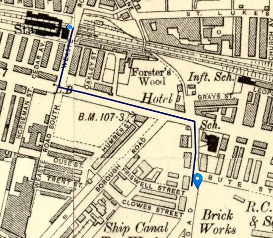 What's thought to be Herby's last walk to work before he was fatally injured Ordnance Survey six-inch map of Weaste 1888-1913 Possible route between Herby's lodgings and workplace marked in navy blue Image courtesy of the National Library of Scotland, released under Creative Commons
