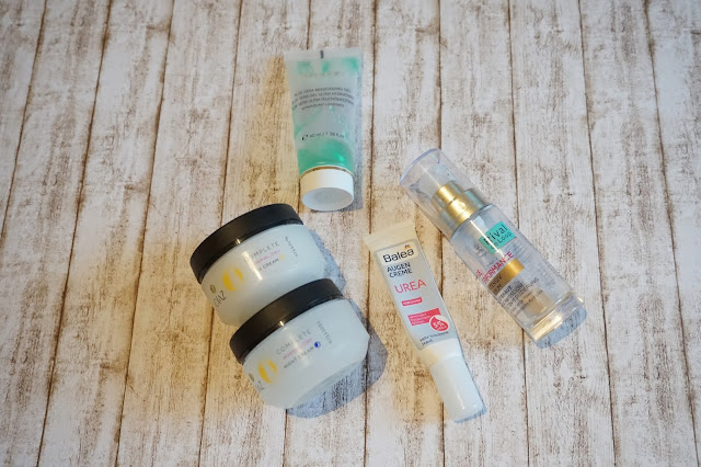 Olaz - Essentials Complete Tages- und Nachtcreme      être belle cosmetics - Aloe Vera Ultra Moisurizing Gel     Balea - Urea Augencreme     Rival de Loop - Age Performance Serum
