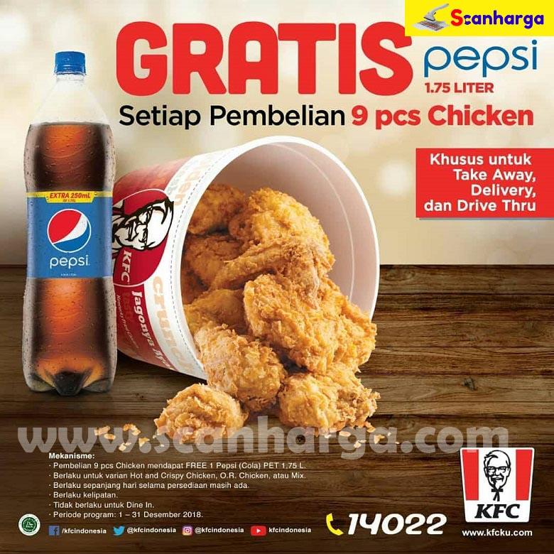 Promo Kfc Gratis Pepsi Setiap Pembelian 9 Pcs Ayam Periode 1 31 Desember 2018 Scanharga