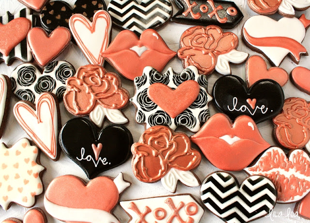 Rose gold Valentine's Day sugar cookies