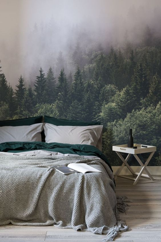 "Bedroom with Forest Wallpaper ""Hygge"""