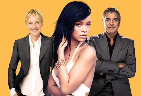 """Rihanna brinca de """"Eu Nunca"""" com George Clooney em programa da Ellen DeGeneres!"""