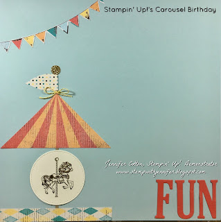 This 12x12 scrapbook page uses Stampin' Up!'s Carousel Birthday stamp set.  It also uses: Gold Glimmer Paper, Cupcakes & Carousels Designer Paper, Cupcakes & Carousels Embellishment Kit, Stitched Shapes and Large Letters Framelits, Gold Embossing Powder, VersaMark Pad, and Heat Tool!!  #staminup #stamptherapist www.stampwithjennifer.blogspot.com