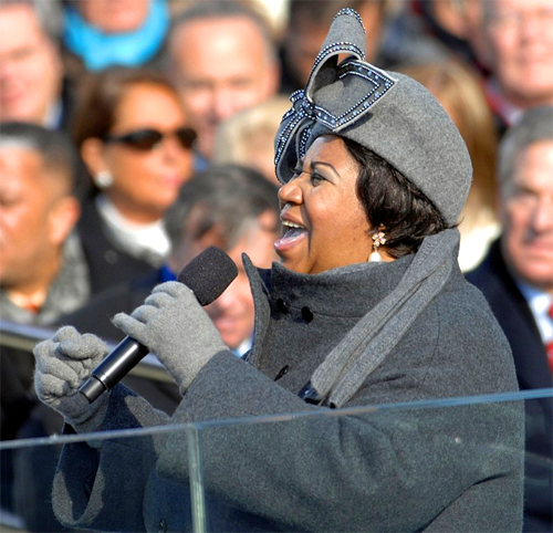 image of Aretha Franklin singing at President Obama's inauguration