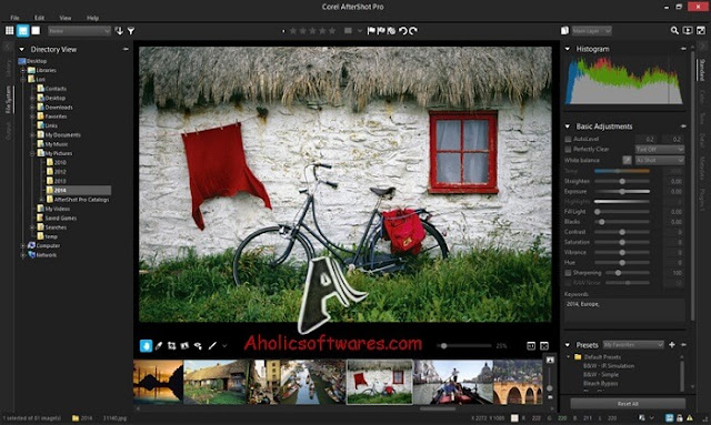 Corel Aftershot Pro lets you enhance and manage your photos professionally.