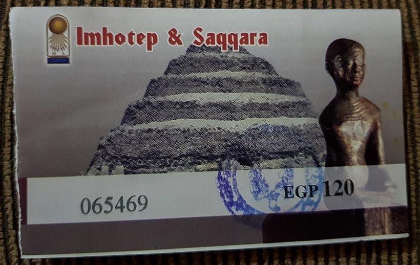 Ingresso para entrar no Complexo de Saqqara, Egito