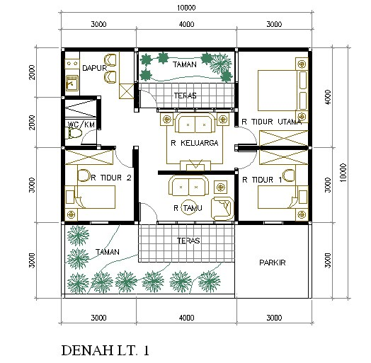 denah rumah minimalis ukuran 6x8m 3 kamar 4 4