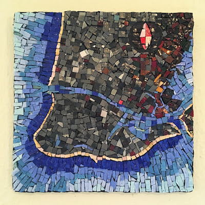 cape may chart map cartography art glass Sharon Warren smalti mosaic orsoni italian