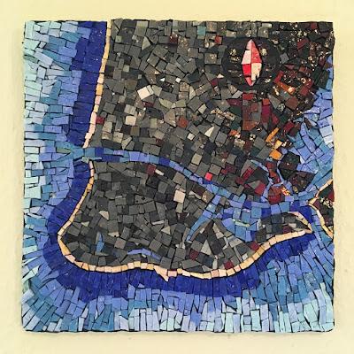 cape may chart map cartography art glass Sharon Warren smalti mosaic orsoni italian