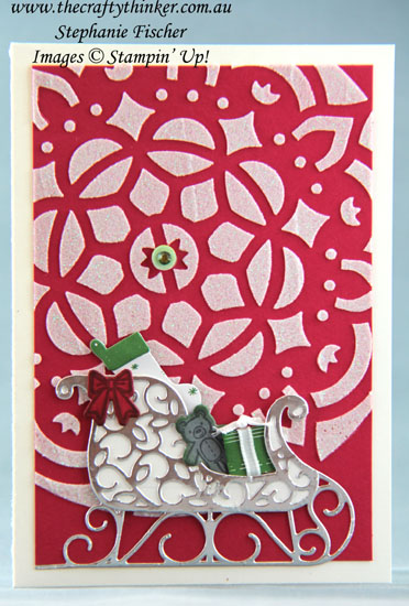 #thecraftythinker, #christmascard, #cardmaking, #embossingpaste, Pattern Party, Embossing paste, Santa's Sleigh, Xmas card, Stampin' Up Australia Demonstrator, Stephanie Fischer, Sydney NSW