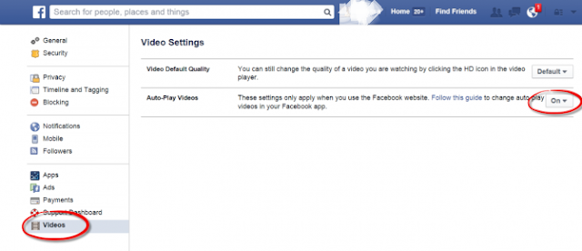 stop autoplay videos on Facebook