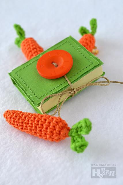 блокнот ручной работы, вязаная морковка, брошь-морковка, оранжевый, салатовый