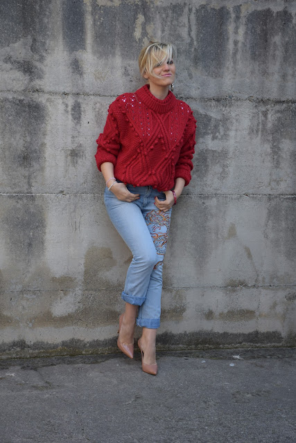 embroidered jeans how to wear embroidered jeans how to combine embroidered jeans  march outfit mariafelicia magno fashion blogger colorblockby felym fashion bloggers italy italian fashion bloggers