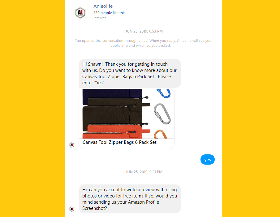 Sellers on Amazon Using Facebook Messenger to Buy Good Reviews