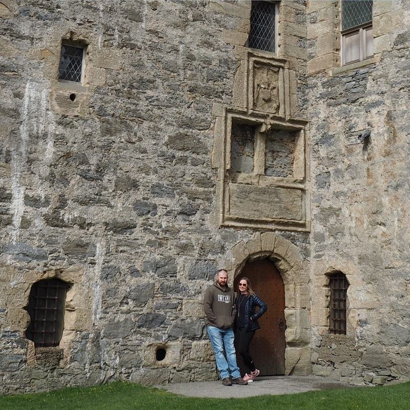 At the front door of Scalloway castle