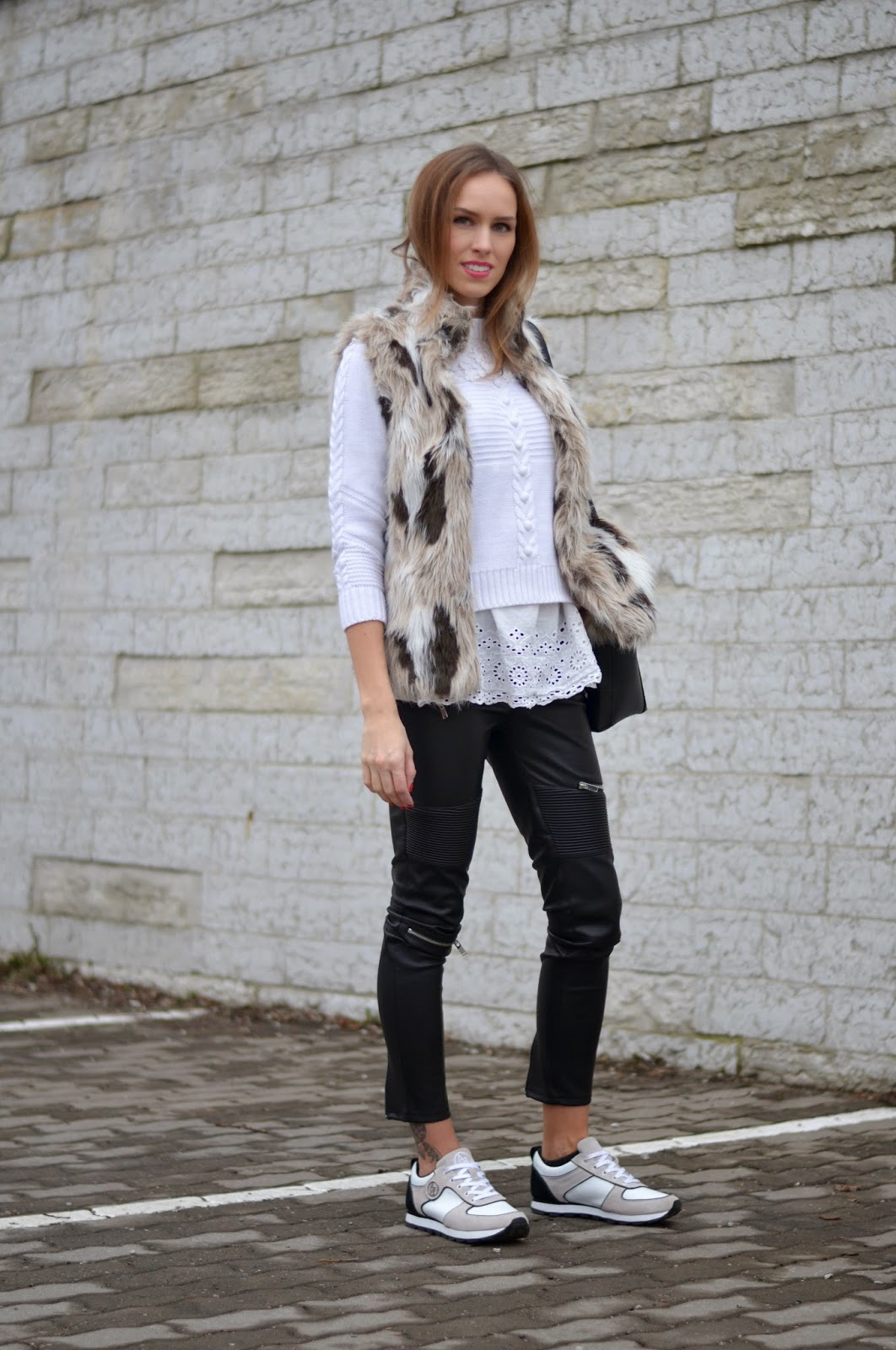 zara-fur-gilet-white-lace-top-crochet-jumper-leather-pants-white-sneakers kristjaana mere