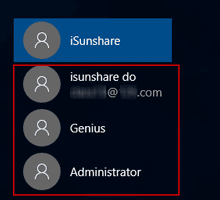 sign in windows 10 with another account