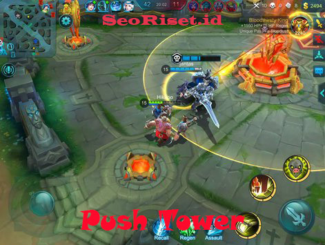 cara comeback mobile legend push tower