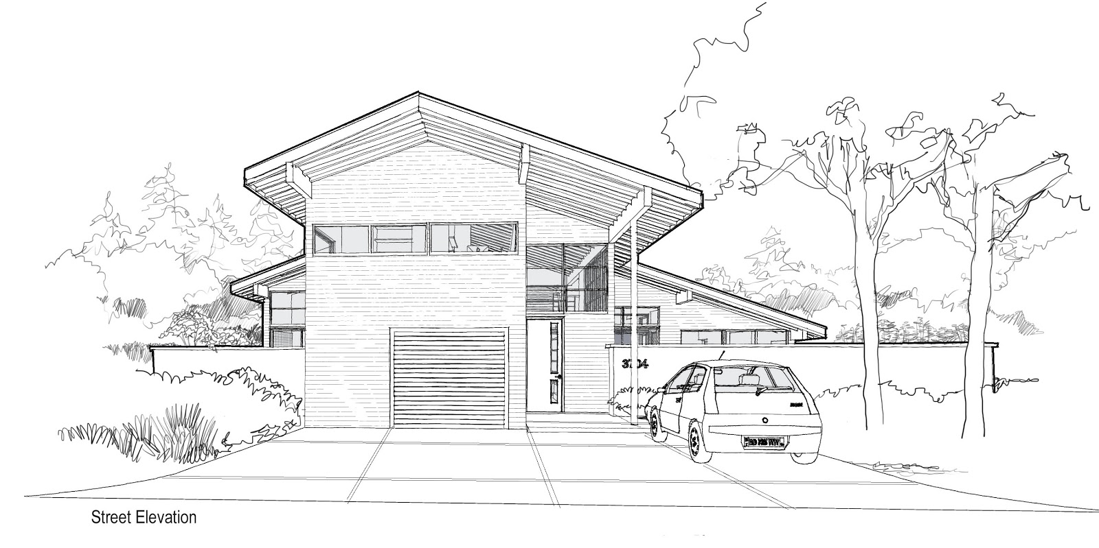 Mcm design modern house plan 3 for Sketch house plans