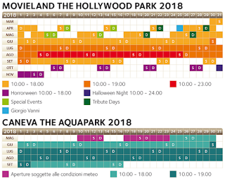 Calendario Canevaworld (Movieland e Caneva Aquapark) 2018