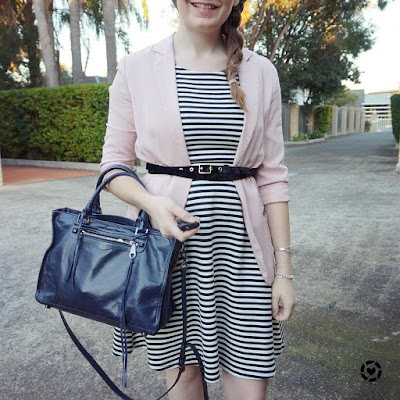 awayfromtheblue instagram blush pink blazer belted over stripe fit and flare dress with rebecca minkoff regan bag
