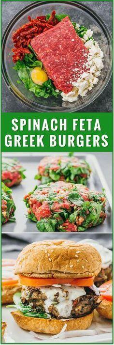 Greek Burgers wíth Spínach, Feta, and Sun-Dríed Tomatoes