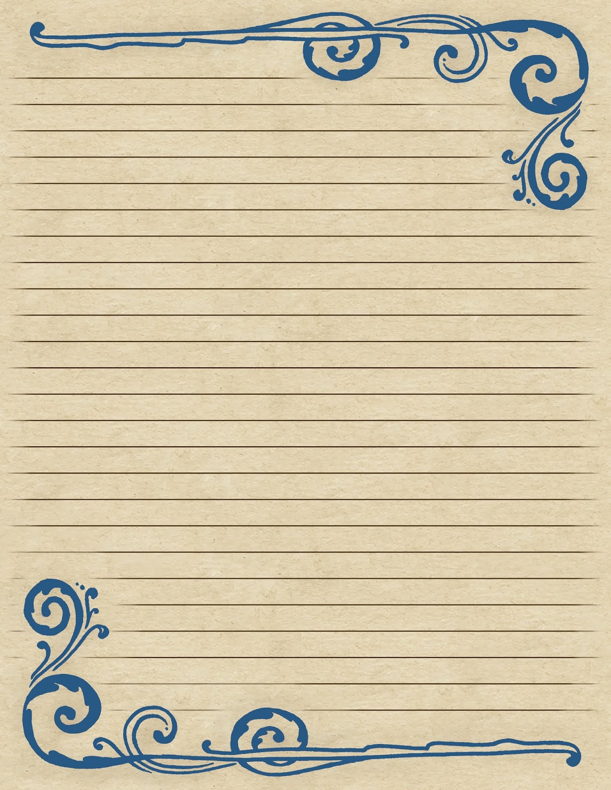 Lilac Lavender Swirling Border Lined Paper – Lined Border Paper