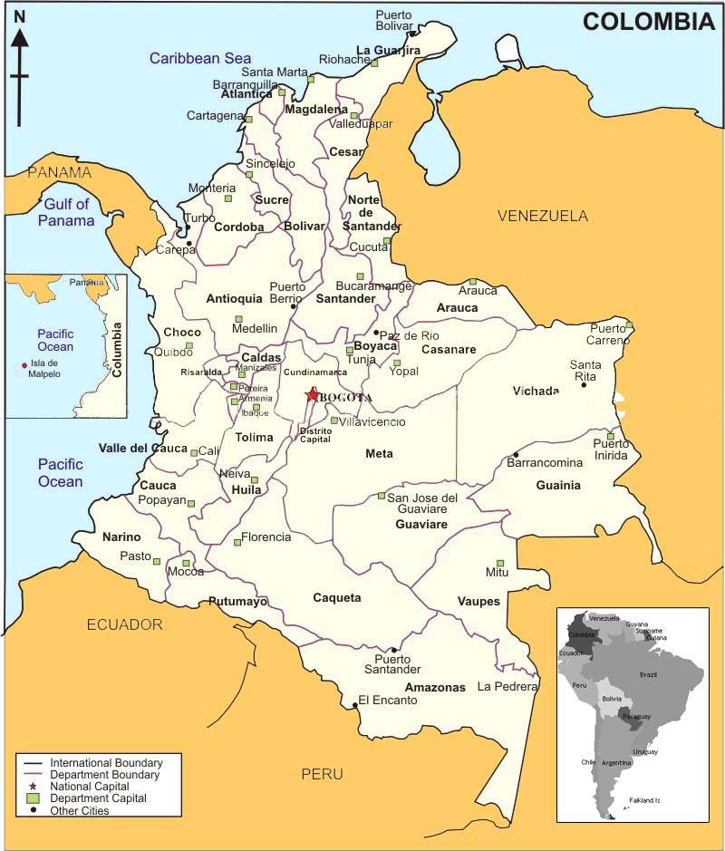 Mapas de Colombia: Mapa de Colombia con sus límites