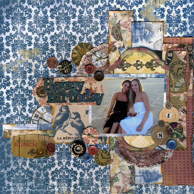 Love You A Bunch December Sketch Challenge layout by Lynn Shokoples for BoBunny featuring the Provence Collection and Celebrate Laser Cut Chipboard