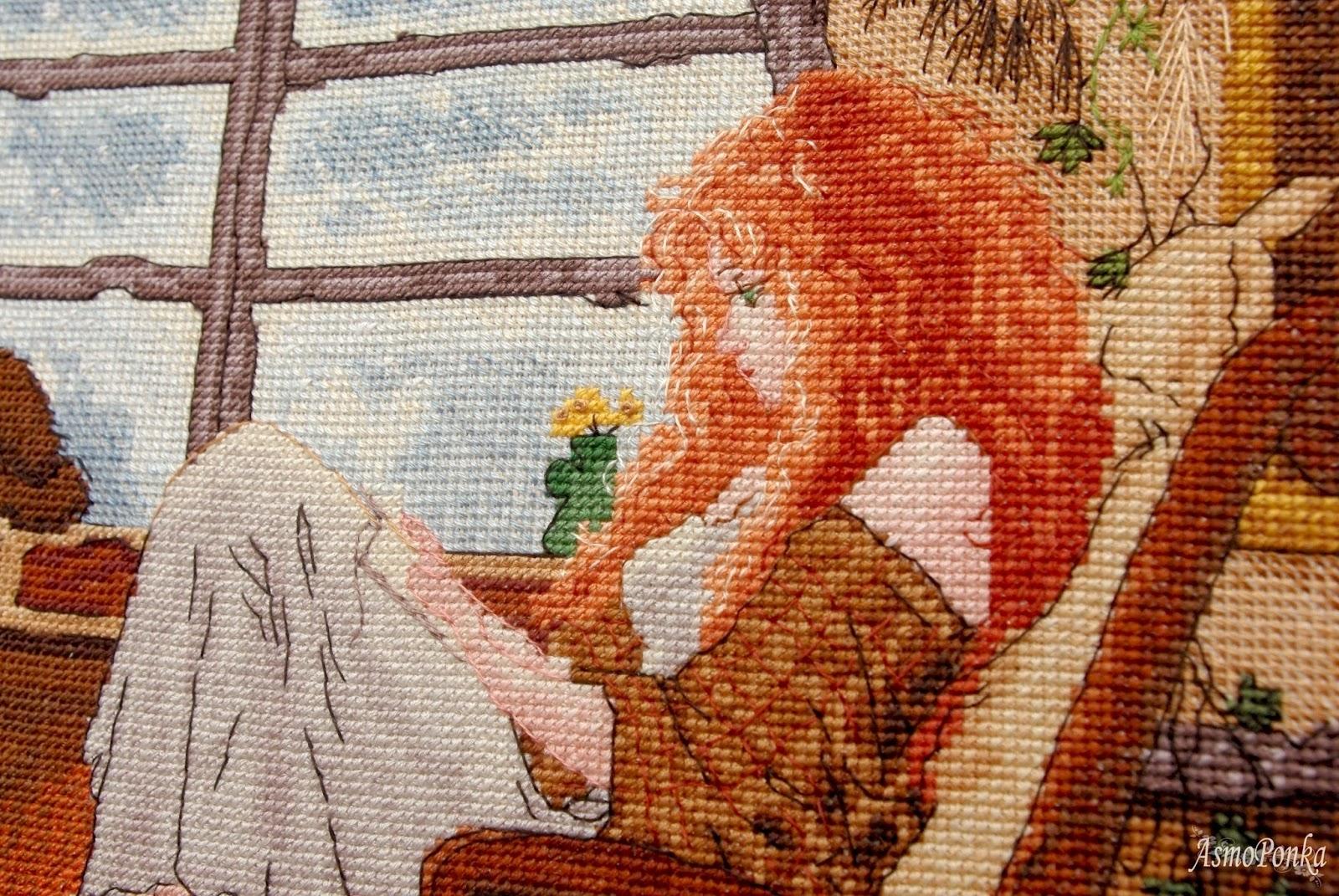 Девушка вышивает схема