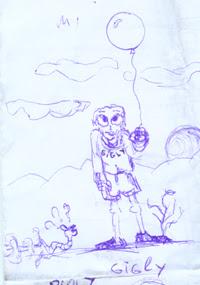 Funny humanoid drawing