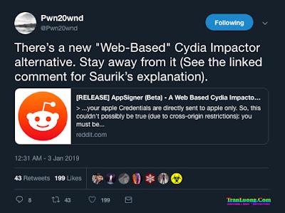 Saurik cảnh báo về AppSigner, ứng dụng thay thế Cydia Impactor