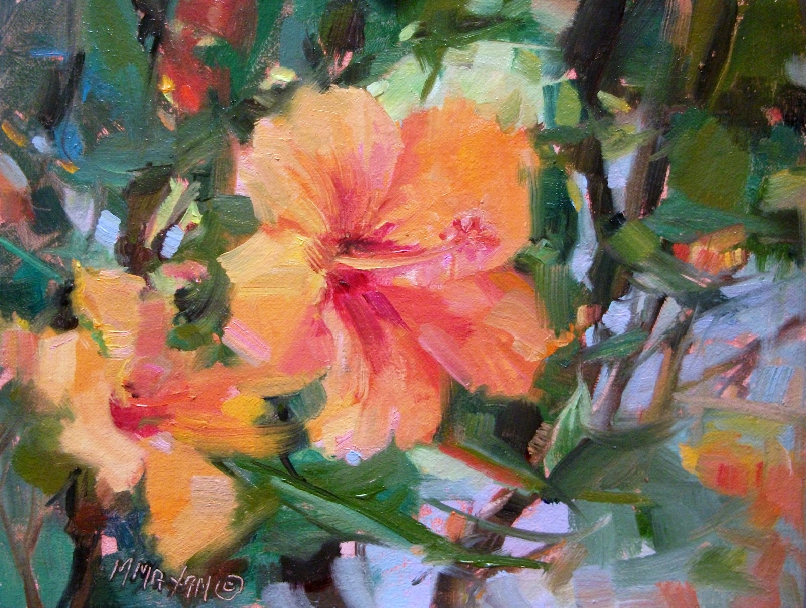 Mary Maxam - paintings: Hibiscus - orange floral of Hawaii
