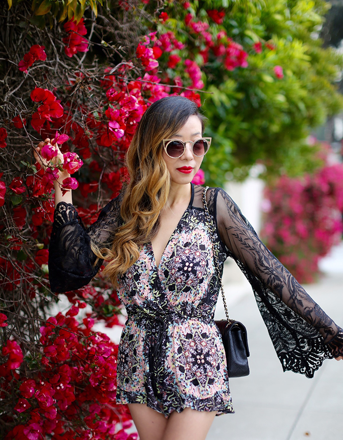 Sky Yamir Romper, chanel classic flap bag, lace up flats, revolve me, chanel earrings, quay cat eye sunglasses, san francisco fashion blog, san francisco street style, nordstrom anniversary sale