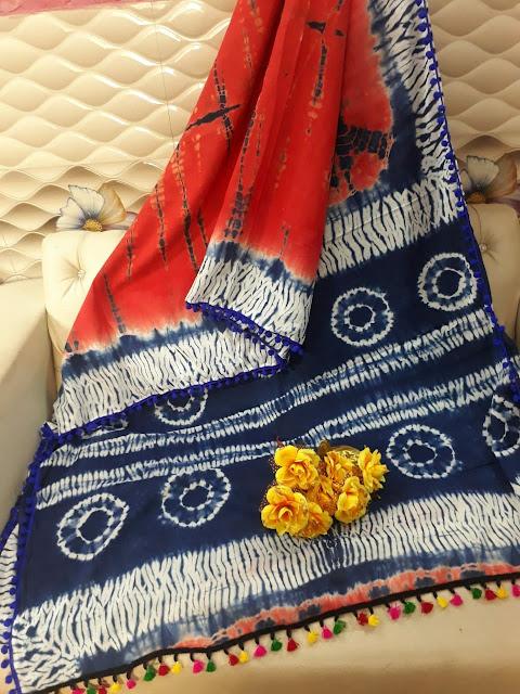 New Arrival     Indigo Pom Pom Sarees online