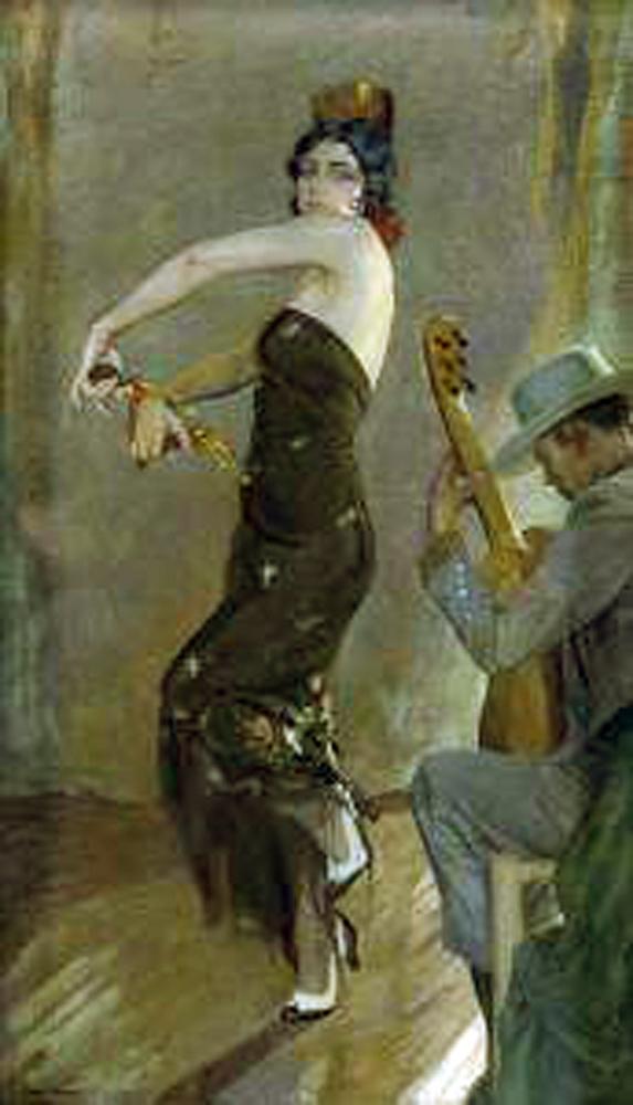Guitarrista y bailaora, Francisco Pons Arnau, Pintor español, Pintor Valenciano, Pintura Valenciana, Impresionismo Valenciano