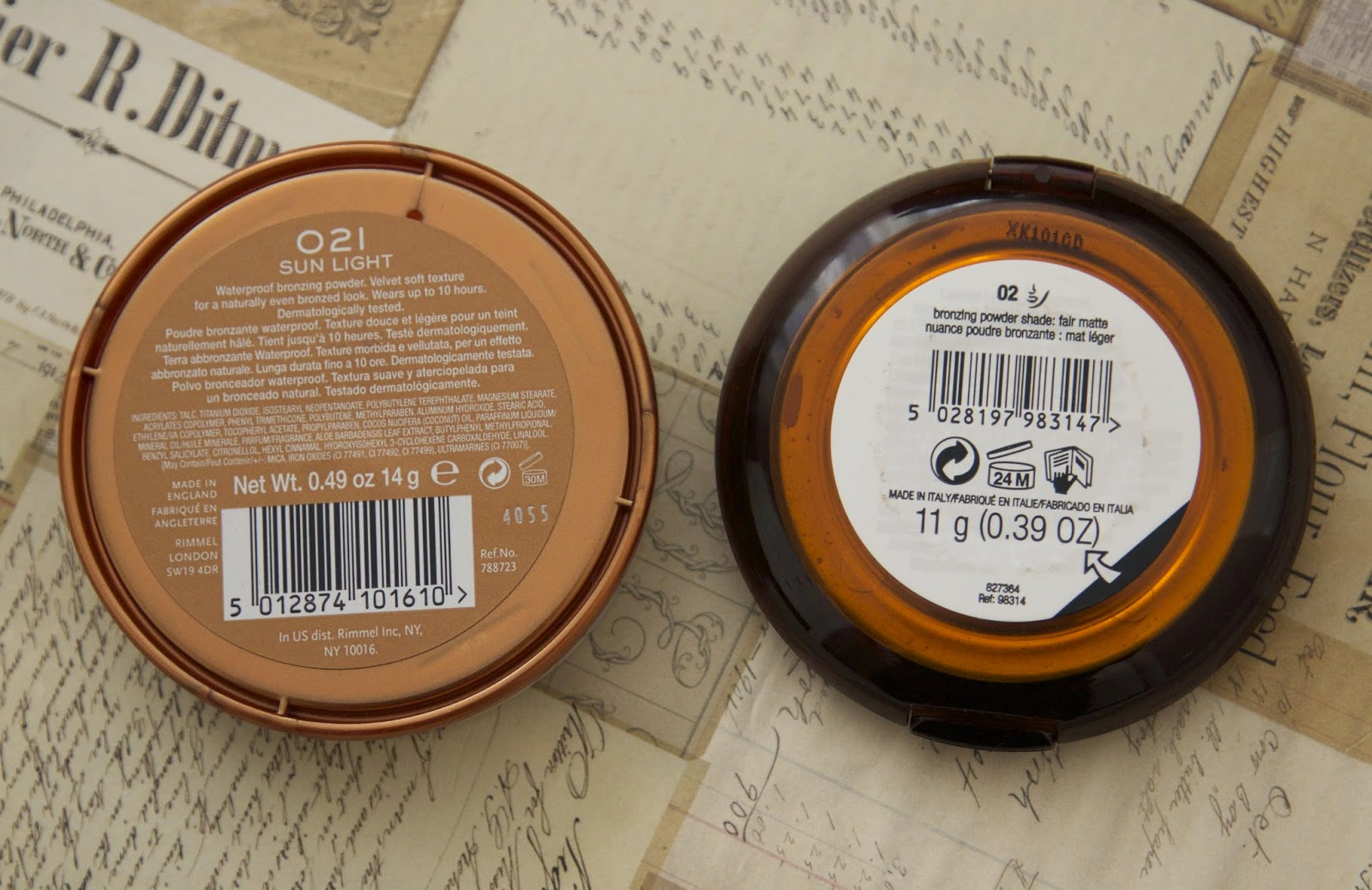 BODYSHOP HONEY BRONZE BRONZING POWDER VS RIMMEL NATURAL BRONZER REVIEW VS SWATCHES