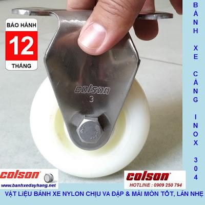 Bánh xe Nylon phi 75 không xoay càng inox 304 Colson | 2-3308SS-254 www.banhxepu.net